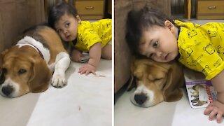 Baby preciously cuddles with doggy best friend