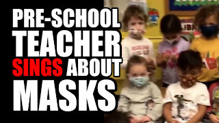 Pre-School Teacher Sings About Masks with Students