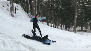 Human snowboard attempt ends in truly epic fail