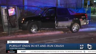 Downtown pursuit ends in hit-and-run crash