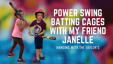 Power swing batting cages with my friend Janelle   Kids fun video