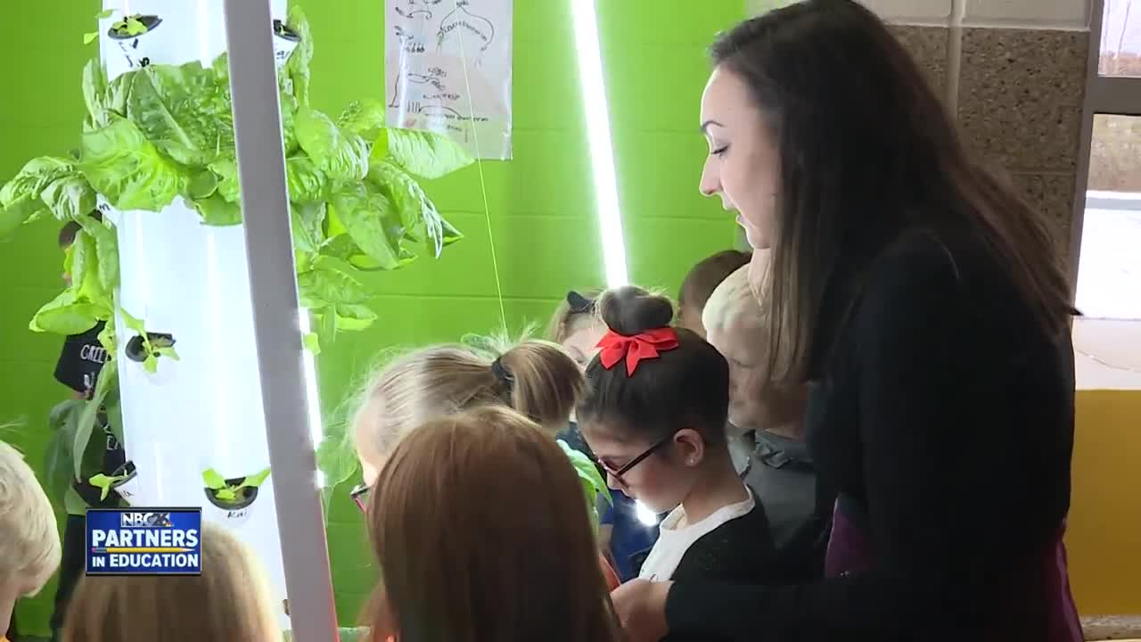 Partners in Education: Students learn from growing lettuce tower and aeroponics