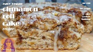 Easy Vegan Cinnamon Roll Cake Recipe | No Eggs | EASY RICE COOKER CAKE RECIPES