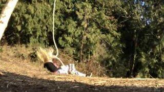 Woman falls when rope swing breaks
