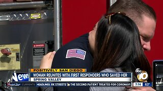 Woman reunites with firefighters who rescued her after crash