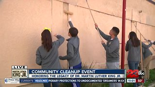 Family volunteers during Lamont's MLK Day Clean-Up