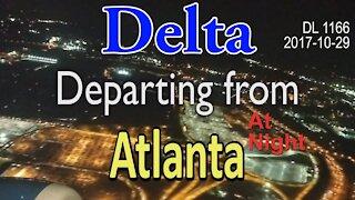 Delta flight departing from Atlanta at night [#DL1166]