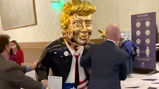 Gold Statue of President Donald Trump Arrives at CPAC 2021 conference