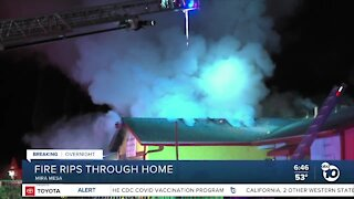 Fire damages home in Mira Mesa