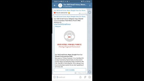 Our Still Small Voice Shared Consciousness News Room on Telegram is NOW OPEN!🥊🎯🏆👍🌎🥰💯💥