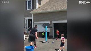 Dad pull amazing trick shot