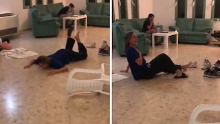 Girl tries to jump off chair, ends in hilarious epic disaster