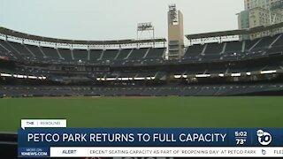 Petco Park returns to full capacity