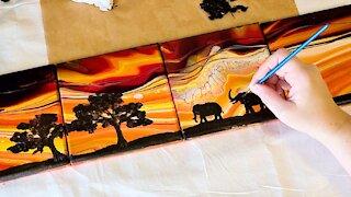 Safari Elephant Acrylic Painting