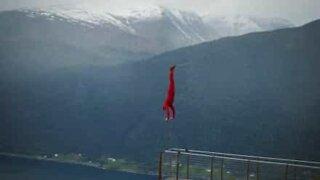 Gymnast performs breathtaking handstand