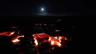 Supermoon over Kilauea volcano in Hawaii