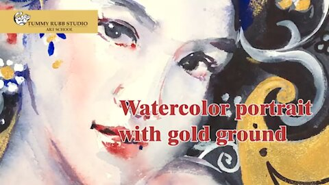 Learn to paint: watercolor portrait with Daniel Smith Watercolor Ground in Iridescent Gold