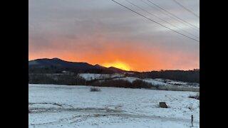 Beautiful Snowy Christmas Day Sunset