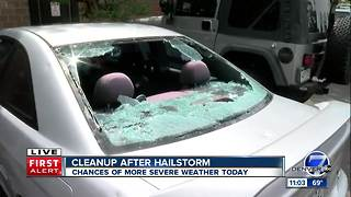 Cleanup underway after hailstorm damages cars, roofs north of Denver