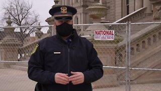 Michigan State Police prepare at the capitol for Biden inauguration