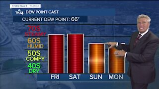 Friday is humid with highs in the upper 80s