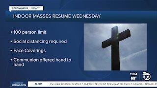 Catholic masses to resume indoors