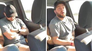 Guy sleeping in car falls victim to trending viral prank