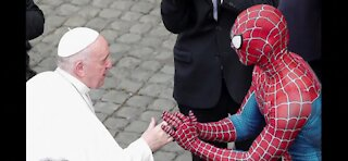 Spider-Man meets Pope Francis