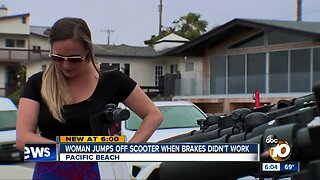 Woman jumps off scooter when brakes didn't work