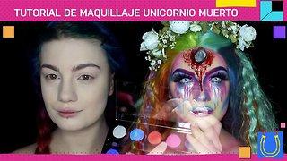 Visto en Halloween.... Maquillaje de unicornio muerto