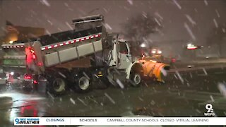 Cincinnati salt trucks working overnight to clear snowy streets