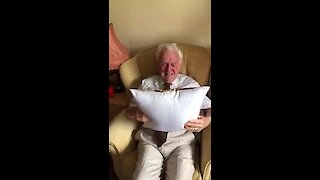 Elderly man can't hold back the tears when he receives this very special gift