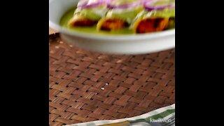 Green Enchiladas stuffed with Shrimp