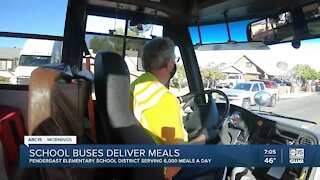 School buses deliver meals to students around the Valley