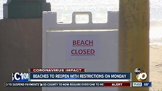 Beaches to reopen with restrictions on Monday