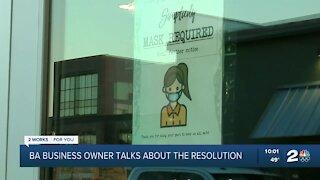 Broken Arrow business owner talks about mask resolution