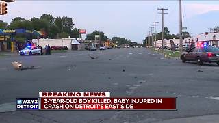3-year-old killed in vehicle crash on Detroit's east side