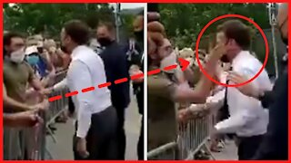 President Macron slapped in the face during France tour