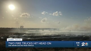 2 fire trucks crash head-on