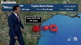 Tropical Storm Hanna forecast to make landfall as hurricane in South Texas Saturday