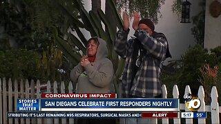San Diegans celebrate first responders nightly
