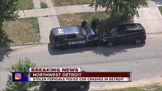 Stolen Ferndale police car crashes in Detroit