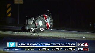Crews respond to motorcycle crash on Hancock Bridge Parkway Monday morning