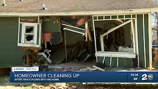 Driver crashes truck into West Tulsa house