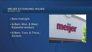 Meijer extending store hours beginning Friday