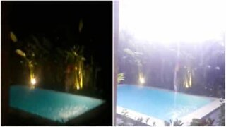 Lightning strikes pool in Bali