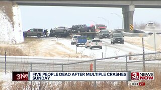Five deaths reported after multiple crashes Sunday