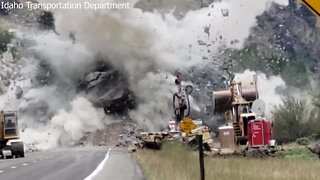 WATCH: Boulder from Riggins landslide blown up