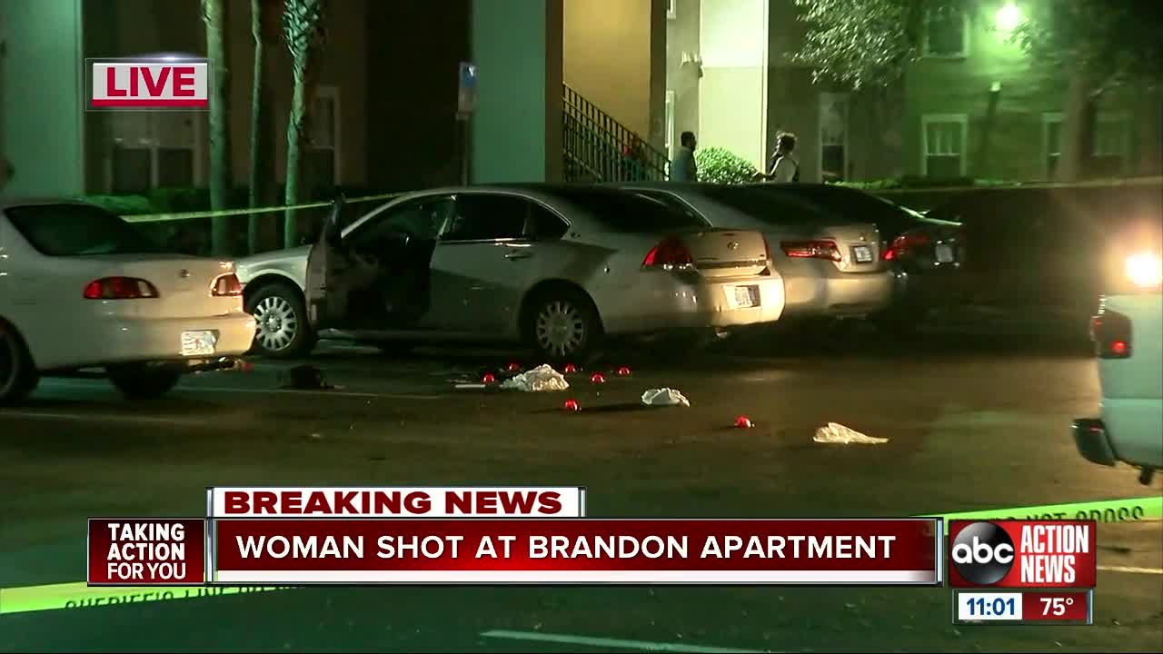 Woman hospitalized after shooting at an apartment complex in Brandon