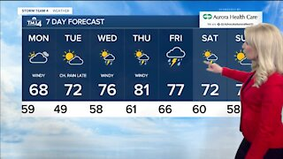 Cooler Monday with highs in upper 60s